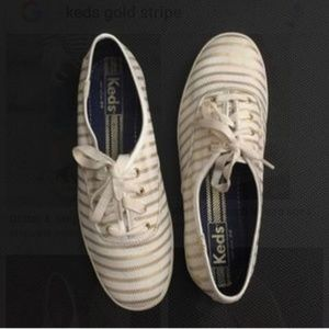 Nwot Keds white with gold striped sneakers sz 9.5